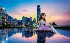 Toy, doll, beautiful girl, city, buildings, Hong Kong HD wallpaper