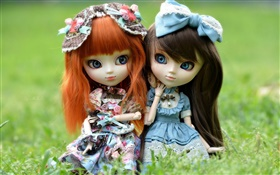 Two toy girls, red and black hair, doll