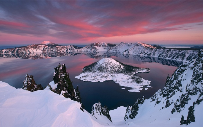 Volcanic lake, snow, island Wallpapers Pictures Photos Images