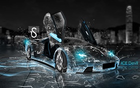 Water splash car, creative design, Lamborghini