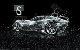 Water splash car, creative design, black background HD wallpaper