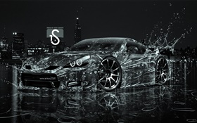 Water splash car, creative design, black supercar HD wallpaper