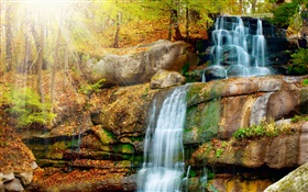 Waterfalls, stones, autumn, trees, sun