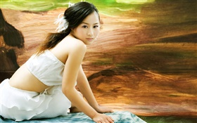 White dress Asian girl, look back HD wallpaper