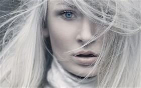 White hair, blue eyes, girl face close-up HD wallpaper