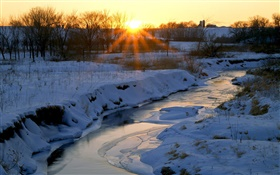 Winter, river, snow, trees, dawn, sunrise HD wallpaper