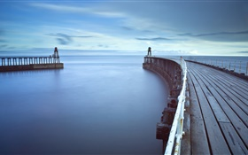 Wooden bridge, pier, lighthouse, sea, dawn HD wallpaper