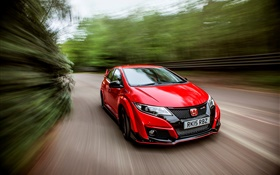 2015 Honda Civic Type R UK-spec red car speed HD wallpaper