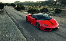 2015 Lamborghini Huracan red supercar, road HD wallpaper