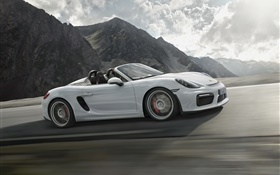 2015 Porsche Boxster Spyder 981 white car speed HD wallpaper