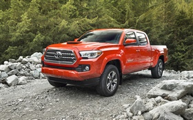 2015 Toyota Tacoma red car HD wallpaper