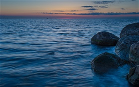 Baltic Sea, Sweden, stones, dusk HD wallpaper