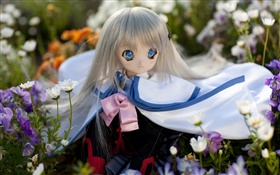 Blue eyes toy girl, doll, flowers HD wallpaper
