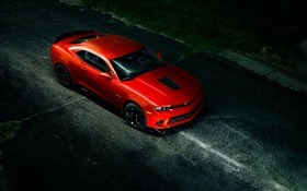 Chevrolet Camaro Z28 red supercar, night, road HD wallpaper