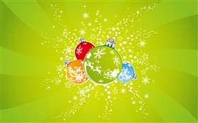 Christmas balls, green background HD wallpaper