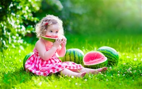 Cute baby, girl eating watermelon, summer, meadow HD wallpaper