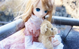 Cute toy girl with dog, doll HD wallpaper