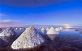 Dead Sea, sunset, piles of salt HD wallpaper