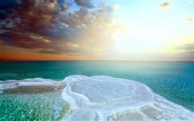 Dead sea, beautiful sunset, salt sea HD wallpaper