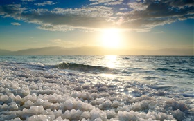 Dead sea, salt, sunset HD wallpaper