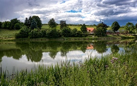 Denmark, Langa, Midtjylland, river, grass, trees, fields, clouds HD wallpaper