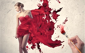 Draw girl's red dress, creative pictures