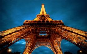 Eiffel Tower, night, Paris HD wallpaper