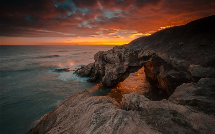 England, Northumberland, sea, rocks, sunrise, red sky Wallpapers Pictures Photos Images