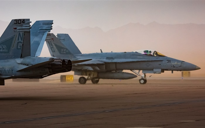 FA-18 Hornets, planes, airport, hot air Wallpapers Pictures Photos Images