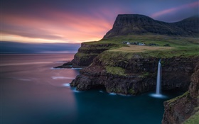 Faroe Islands, waterfall, Atlantic, mountain, rocks, house, dusk HD wallpaper