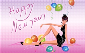 Fashion girl, vector pictures, Happy New Year HD wallpaper