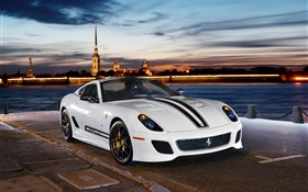 Ferrari 599 GTO white sports car HD wallpaper