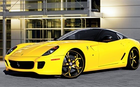 Ferrari 599 yellow supercar side view HD wallpaper