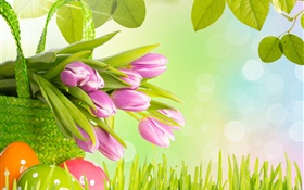 Flowers, purple tulips, grass, spring, eggs, Easter