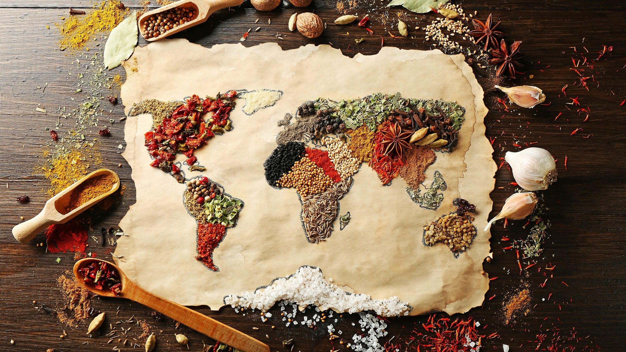 Food spices surface world map creative pictures desktop food spices surface world map creative pictures 2560x1440 wallpaper sciox Choice Image