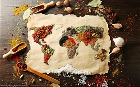 Food, spices, surface, world map, creative pictures HD wallpaper