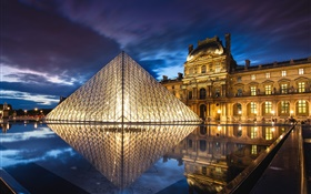 France, Paris, Louvre Museum, pyramid, night, water, lights