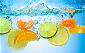 Fruit piece in water, citrus HD wallpaper