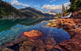 Garibaldi, Canada, mountains, rocks, forest, trees, lake HD wallpaper