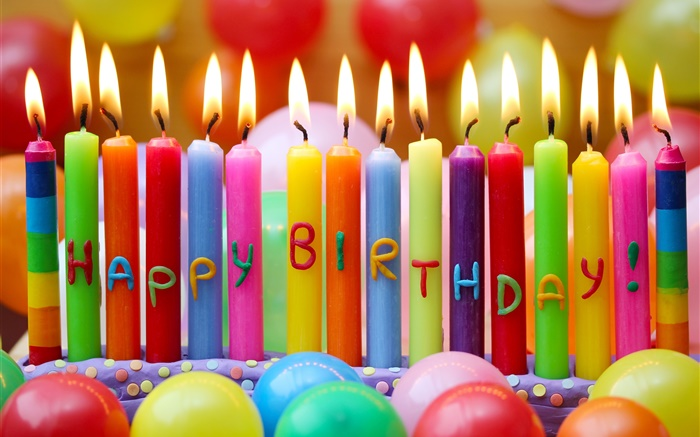 Happy Birthday, colorful candles, fire, balloons Wallpapers Pictures Photos Images