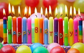 Happy Birthday, colorful candles, fire, balloons HD wallpaper