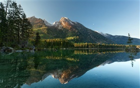 Lake, trees, mountains, water reflection HD wallpaper