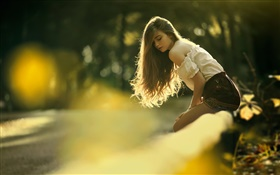 Long hair young girl, sun, bokeh HD wallpaper