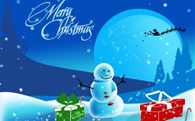 Merry Christmas, art pictures, snowman, snow, gifts, moon HD wallpaper