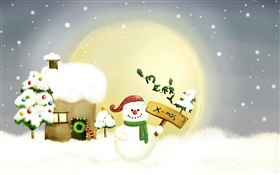 Merry Christmas, snowman, trees, moon, house, snow HD wallpaper