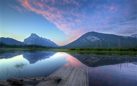 Mountains, dawn, lake, pier, water reflection HD wallpaper