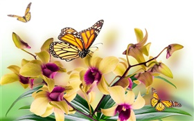 Orchid, flowers, leaves, petals, butterfly HD wallpaper