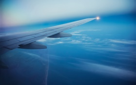 Passenger airplane, sky, clouds, aircraft wing HD wallpaper