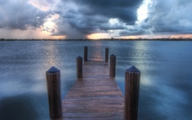 River, pier, clouds, dusk HD wallpaper