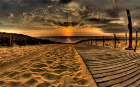 Sands, beach, pier, sunset, clouds